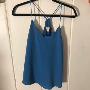 J Crew • blue scalloped blouse
